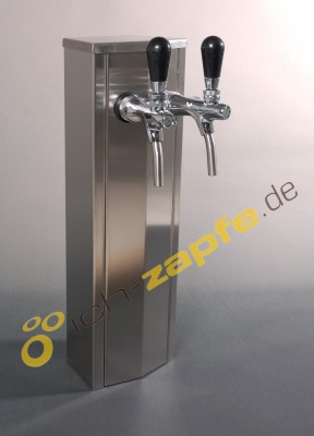 Schanksäule / Zapfsäule aus Edelstahl, 2 - leitig
